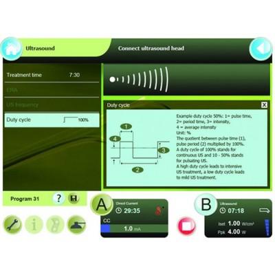 Η Combi 400V διαθέτει πληροφορίες για τις παραμέτρους της θεραπείας