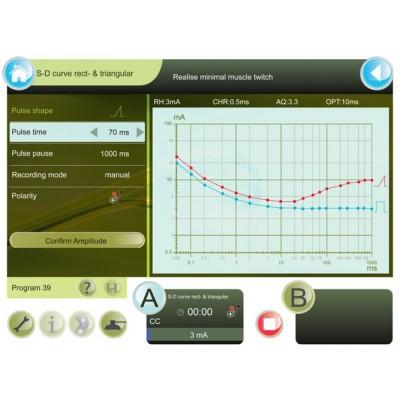 Η Combi 400 διαθέτει έτοιμα προγράμματα ηλεκτροδιάγνωσης και οι καμπύλες καταγράφονται στην οθόνη για δική σας διευκόλυνση