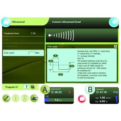 Η Combi 400 διαθέτει λεπτομερείς πληροφορίες για τις παραμέτρους της θεραπείας