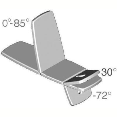 Η κλίση ρυθμίζεται με υδροπνευματικό μηχανισμό από -72° έως 30° (άνω τμήμα) και απο 0° έως 85° (κάτω τμήμα)